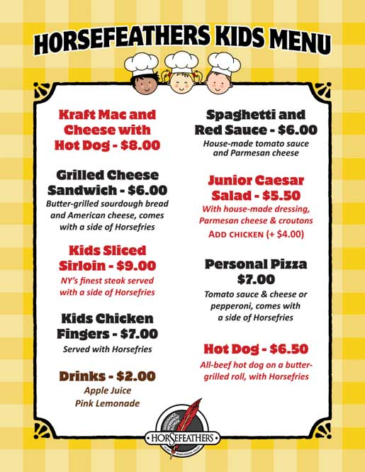 Horsefeathers Kids Menu